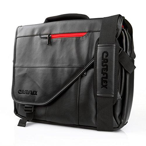 Caseflex Messenger Bag - Black PU Leather Shoulder Bag - Black