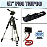 PROFESSIONAL 57 Inch Tripod with Carrying Case For The Sony DCR-DVD103, DVD108, DVD308, DVD408, DVD508, DVD610, DVD650, DVD703, DVD705, DVD708, DVD710 DVD Camcorders with Clearmax Exclusive Designed Red Bendy Flexpod Plus FREE Complimentary Super Deal Micro Fiber Lens Cleaning Cloth