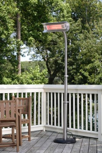 1500 Watt Electric Infrared Telescoping Stainless Steel Pole-Mounted Patio Heater.