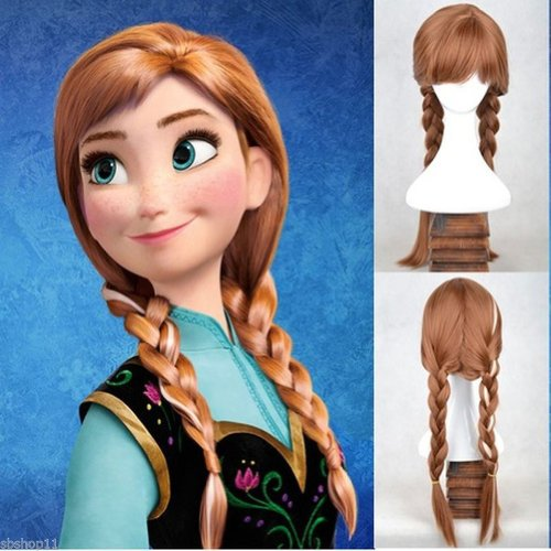 HILISS Cosplay Costume Wig Party Brown Hair for Movies Princess Frozen Snow Anna