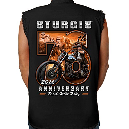 Biker Life USA 2016 Sturgis 76th Rushmore Rider Cutoff Denim Shirt