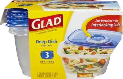 Glad Food Storage Containers, Deep Dish, 64 Ounce, 3 Count (Pack Of 6)