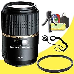 Tamron 90mm f/2.8 SP Di MACRO 1:1 VC USD Lens for Canon Digital SLR Cameras + 55mm UV Filter + Lens Cap Keeper + Deluxe Starter Kit DavisMax Bundle