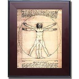 Vitruvian Man by Da Vinci Premium Mahogany & Black Framed Canvas (Ready-to-Hang)