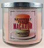 Bath & Body Works RASPBERRY PEACH MACARON 3 wick 14.5 oz scented candle 2014 Sweet Shop collection