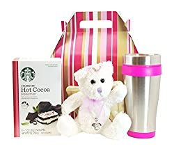Mothers Day Gift Starbucks Peppermint Cocoa Angel Teddy Bear Travel Mug from Combined Brands