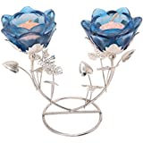 Bhakti Enterprise Silver Metal Lotus Candle With Stand (8 Cm X 8 Cm X 16 Cm, Blue)