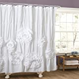 Lush Decor Serena Shower Curtain, 72 by 72-Inch, White