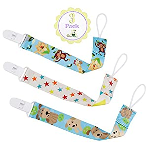 Pacifier Clip, Universal Plastic Holder 3 Pack by Twinkle Unisex Unique 2- Sided Stylish Designs Best Binky Leash for Teething Toys, Soother - Perfect Baby Shower Gift