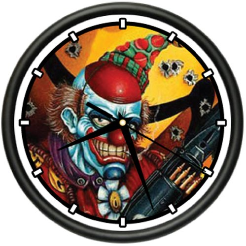 EVIL CLOWN Wall Clock scary killer face circus mask