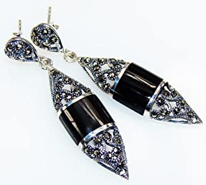 Handmade Onyx Earrings , Real Beauty Unique Handmade Elegance Exotic Summer Night Onyx Sterling Silver Earrings , 5 g, L:1.58 H:0.38 W:0.38 Artisan Unique Black Color Trapezoid Earrings Jewelry