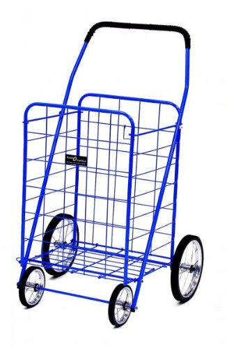 Blue Jumbo Folding Shopping Cart