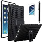 iPad Air Case, ULAK iPad Air Case Cover - Shock-Absorption / Impact Resistant Hybrid Dual Layer Armor Defender Full Body Protective Case Cover with Built-in KickStand for Apple iPad Air 5th Gen 2013(Black/Black)
