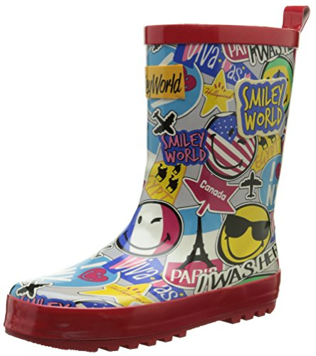 Be OnlySmiley Travel - Stivali da pioggia a metà polpaccio Unisex - Bambini , Multicolore (Multicolore (Multico)), 34
