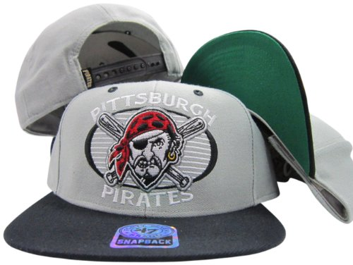 Pittsburgh Pirates Grey/Black Two Tone Plastic Snapback Adjustable Snap Back Hat / Cap