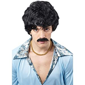 Mens 70's Cool Guy Wig Outfit Accessory for Fancy Dress Mans Male