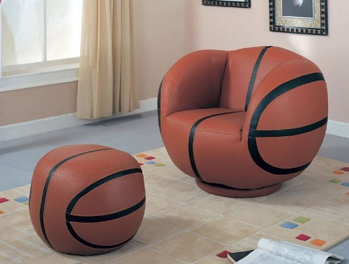 Basketball Theme Kids Chair Ottoman Set Childrens Seat