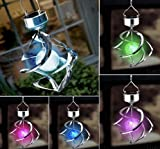Outdoor Portable Light Solar Powered Colour Changing LED Hanging Wind Chime Crack Ball Spiral Spinner Light Lamp For Garden Yard Decor