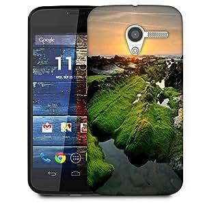 Snoogg Green Abstract Mountain Designer Protective Phone Back Case Cover For Moto X / Motorola X