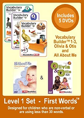 Level 1 - First Words Set - For Non-Verbal Kids & Kids with less than 50 words - 5 DVDs