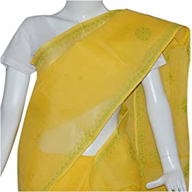 Sari Clothing in Cotton with Chikan Embroidery Yellow (chsari125)