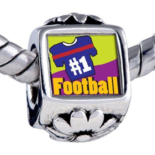 Pugster Bead Number 1 Football Beads Fits Pandora Bracelet