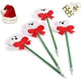 Ghasitaram Gifts Set Of 4 Snow Teddy Pens With Christmas Chocolate Box
