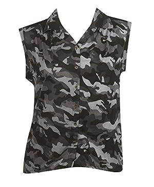 Plus Size Black Camouflage Top --Size: 2x Color: Black