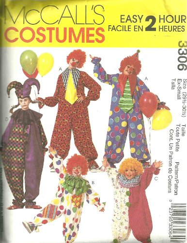Clown Costumes McCall's Sewing Pattern 3306 (Size: 29 1/2-30 1/2) (Clown Costume Patterns)