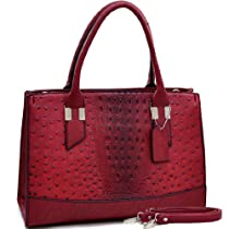 Dasein Ostrich and Croco Fusion Texture Satchel - Red