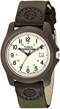Timex Expedition Men's Quartz Watch with Off-White Dial Analogue Display and Green Textile Strap - T491014E