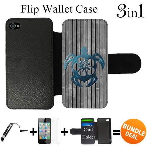 Teal Hawaiian Turtle Custom iPhone 4 Wallet Cases/4S Wallet Cases,Bundle 3in1 Comes with HD Screen Protector/Universal Stylus Pen by innosub (Iphone 4 Cases Ebay compare prices)