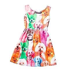 Baby Dress,Manziron Kids Baby Girls Dog Printing Sleeveless Princess Dress Clothes
