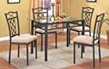 5pc Contemporary Metal Dining Room Table & Chair Set