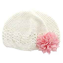 My Lello Infant Baby Girl\'s Crochet Beanie Hat with Flower White/Light Pink