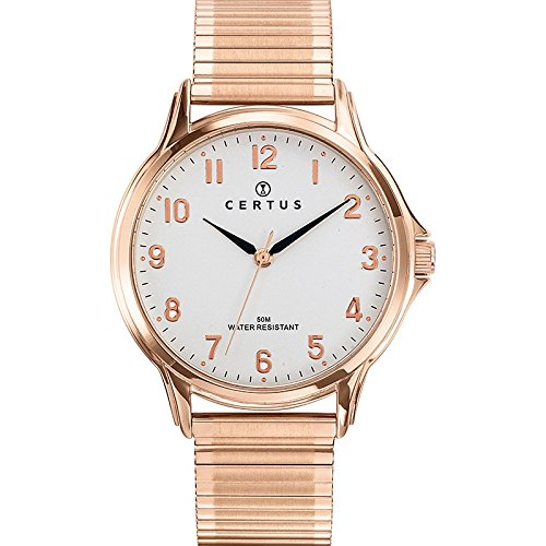 Certus 617020 Men's Watch - Analogue Quartz - White Dial - Steel Bracelet Pink