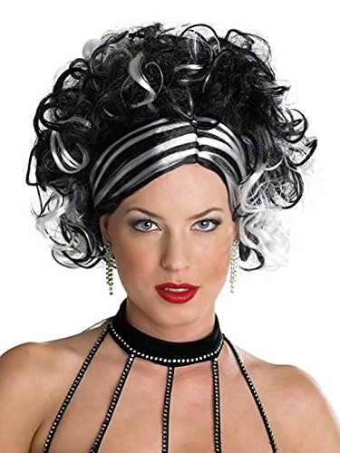 Black and White Wig Womens Curly Updo Wig with Slicked Down Side Bangs