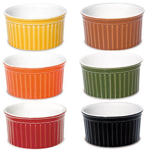 Oxford Porcelain Ramekin- Assorted Colors- Set of 6- 3.5 Oz Each (Oven Safe Small Bowls compare prices)