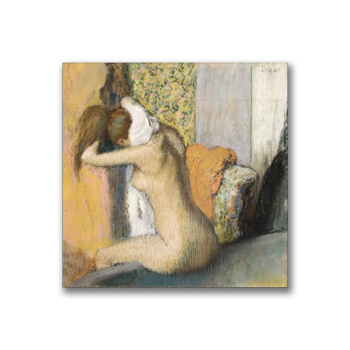 Trademark Fine Art After The Bath, Woman Drying Neck by Edgar Degas Canvas Wall Art, 24x24-Inch