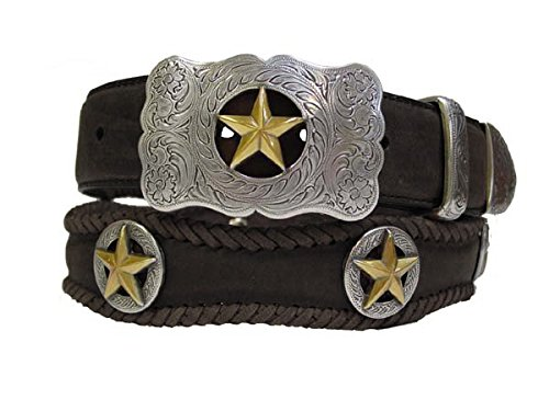 Gold Star Conchos and Buckle Conchos Western Leather Scalloped Belt Black 48
