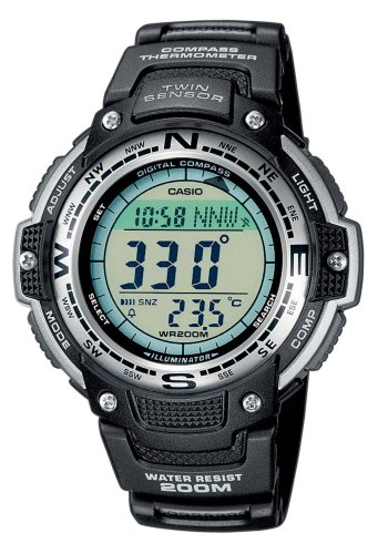 Casio SGW-100-1VEF Digital Quartz Multifunction Sports Watch with Compass, Thermometer, Stopwatch, 5 Alarms, Timer, Black Rubber Strap, Water Resistant to 20 ATM