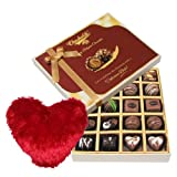 Valentine Chocholik's Belgium Chocolates - Perfect Delight Of Dark And Milk Chocolate Box With Heart Pillow