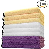 """(9-Pack) **SUPER SPECIAL!** THE RAG COMPANY 16"""" x 16"""" Professional 420 GSM Dual-Pile Plush Microfiber Auto Detailing Towels """"Spectrum 420 Light Pack"""" (Also Available: Search for Spectrum 420 Dark Pack in Royal Blue, Black & Grey)"""