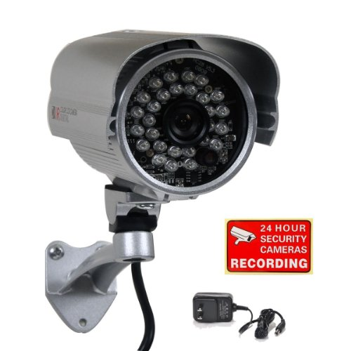 """Videosecu Security Camera Built-In 1/3"""" Sony Effio Ccd 700Tvl Ir Outdoor Weatherproof Day Night Vision Wide View Angle 3.6Mm Lens For Dvr Cctv Home Surveillance System With Bonus Power Supply Cn4"""