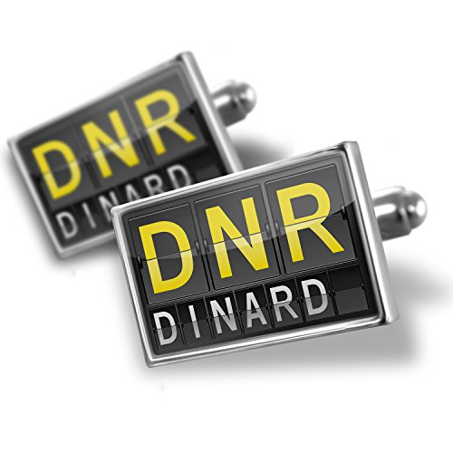 Sterling Silver Cufflinks Dnr Airport Code For Dinard - Neonblond