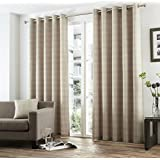 One pair of Braemar Check Eyelet header Curtains in Natural, Size: 66x72