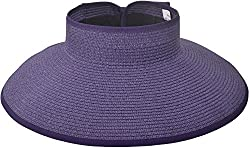 TAUT Women's Roll up Wide Brim Straw Hat Visor with Bow,Purple