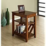 Enitial Lab Rust Side Table with Magazine Rack, Antique Oak