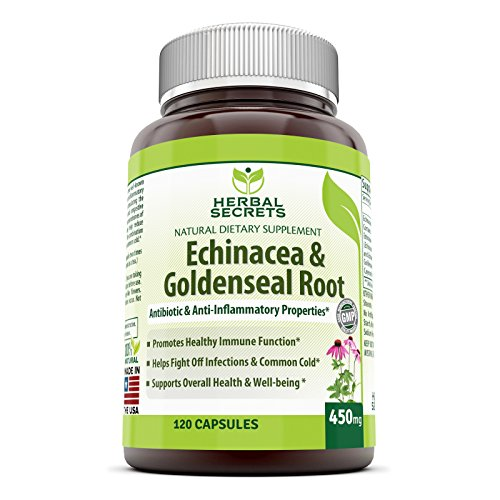 Herbal Secrets Echinacea & Goldenseal Root - 450 Mg 250 Caps with Echinacea Purpurea, Goldenseal, Burdock Root & Cayenne Pepper - Supports Healthy Immune Function and Overall Well-being (Echinacea Goldenseal Organic compare prices)