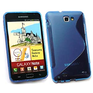 EMARTBUY SAMSUNG GALAXY NOTE WAVE PATTERN GEL SKIN COVER/CASE BLUE